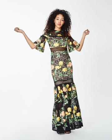 Nicole Miller Embroidered Flowers Lace Gown