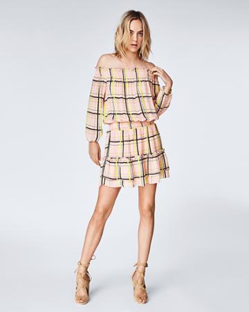 Nicole Miller Electric Plaid Smocked Dress