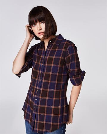 Nicole Miller Boyfriend Plaid Button Down Shirt