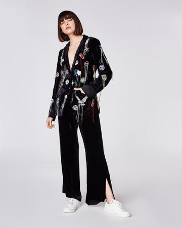 Nicole Miller Distressed Patches Velvet Jacket