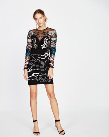 Nicole Miller Falling Dragons Mini Dress
