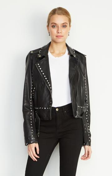 Nicole Miller Sammi Studded Leather Jacket