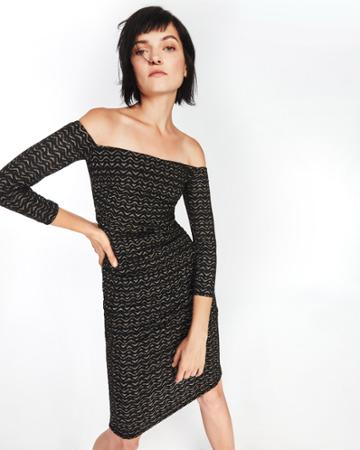 Nicole Miller Gold Zig Zag Dress
