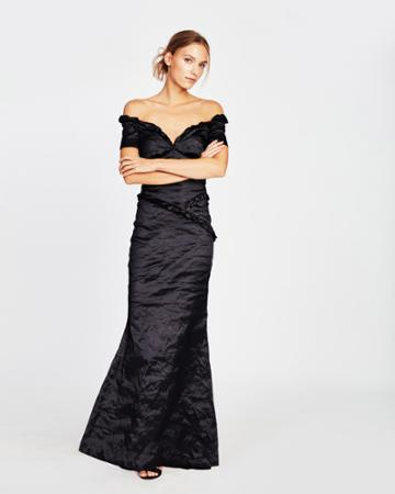 Nicole Miller Off The Shoulder Techno Metal Ruffle Gown