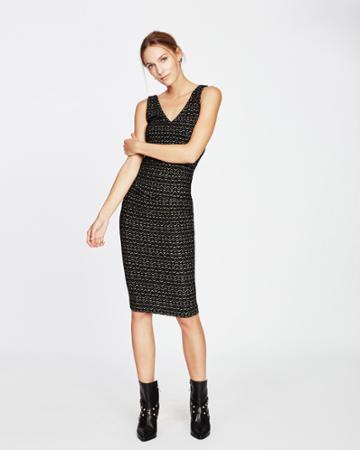 Nicole Miller Gold Zig Zag Midi Dress