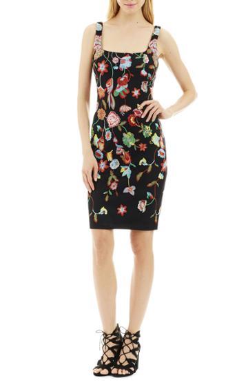 Nicole Miller Embroidered Floral Dress