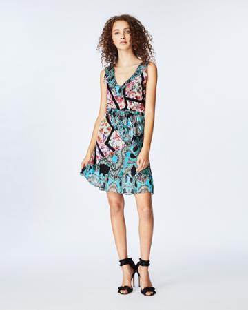 Nicole Miller Brocade Flora Pleated Dress