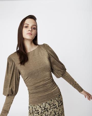 Nicole Miller Puff Sleeve Sparkle Blouse