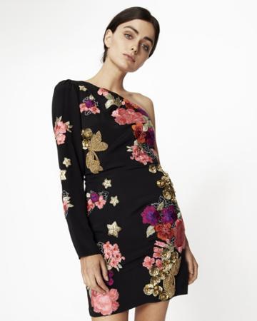Nicole Miller Flora Fauna One Shoulder Dress