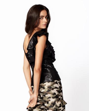 Nicole Miller Sequin Ruffle Top