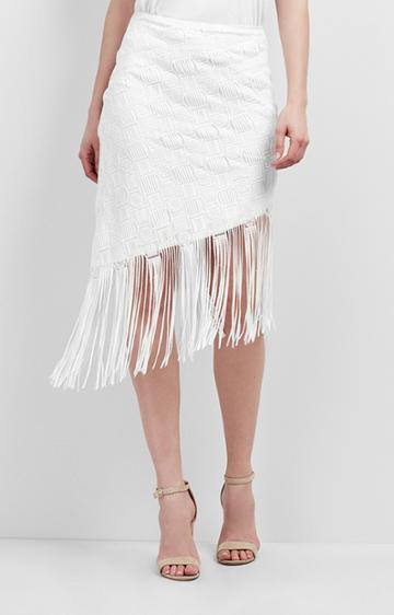 Nicole Miller Fringe Mola Asymmetric Skirt
