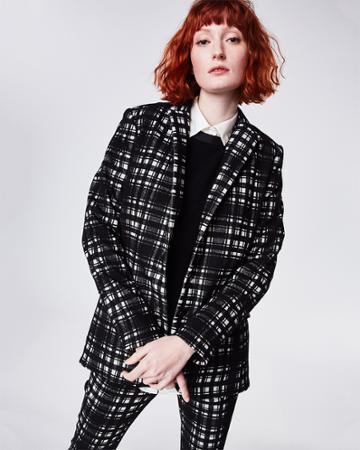 Nicole Miller Brushed Plaid Blazer