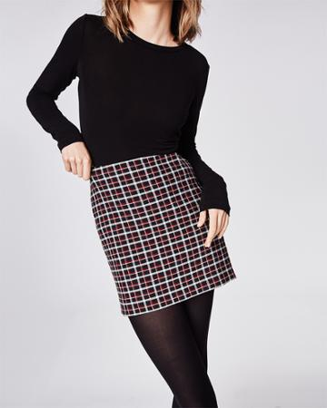 Nicole Miller Reverse Plaid Mini Skirt