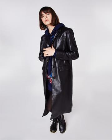 Nicole Miller Leather Reefer Coat