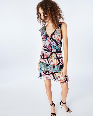 Nicole Miller Brocade Flora Ruffle Skirt