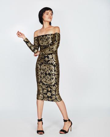 Nicole Miller Tarnished Floral Sequin Dress