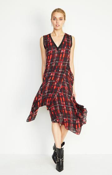 Nicole Miller Jax Barbed Plaid Scarf Dress