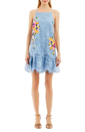 Nicole Miller Embroidered Halter Dress