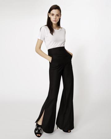 Nicole Miller Wool Side Slit Pant