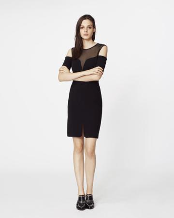 Nicole Miller Mesh Cold Shoulder Dress