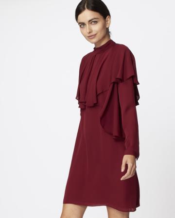 Nicole Miller Mock Neck Ruffle Dress