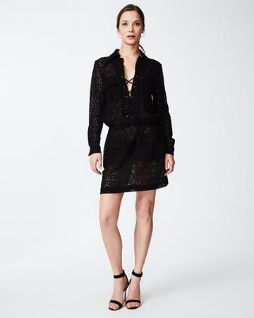Nicole Miller Mini Flora Lace Up Dress