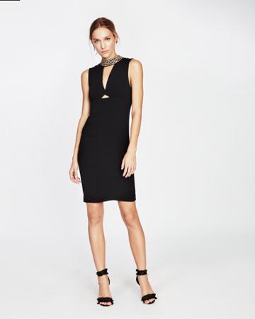 Nicole Miller Embellished Pendants High Neck Dress