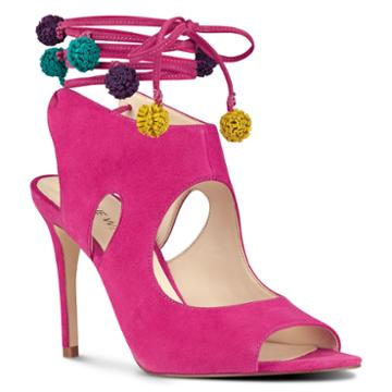 Nine West Nine West Maya Open Toe Sandals, Pink Suede