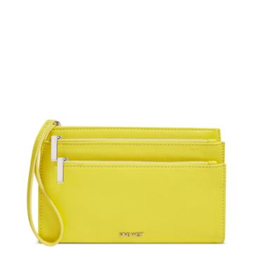 Nine West Nine West Triple Zip Wristlet, Canary Yellow Synthetic