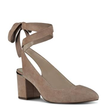 Nine West Nine West Andrea Round Toe Pumps, Natural Suede