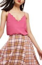 Women's Topshop Scallop Camisole Us (fits Like 0-2) - Pink