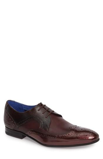 Men's Ted Baker London Oakke Wingtip M - Burgundy