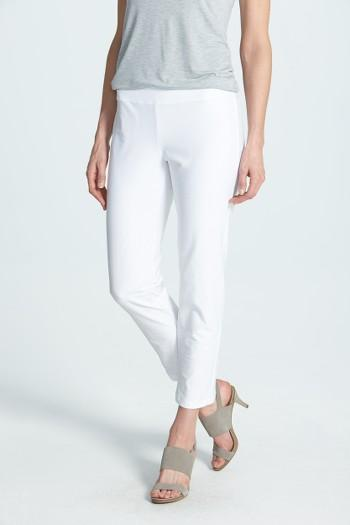 Petite Women's Eileen Fisher Stretch Crepe Slim Ankle Pants, Size P - White