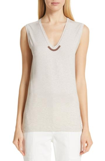 Women's Brunello Cucinelli Monili Trim Knit Tank - Grey