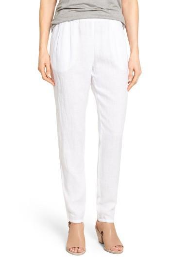 Petite Women's Eileen Fisher Organic Linen Slouchy Pants P - White