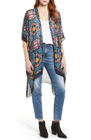 Women's Rebecca Minkoff City Floral Ruana, Size - Black