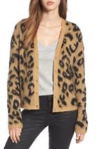 Women's Bp. Leopard Print Jacquard Cardigan, Size - Brown
