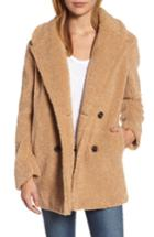 Women's Kensie Teddy Bear Notch Collar Faux Fur Coat - Yellow