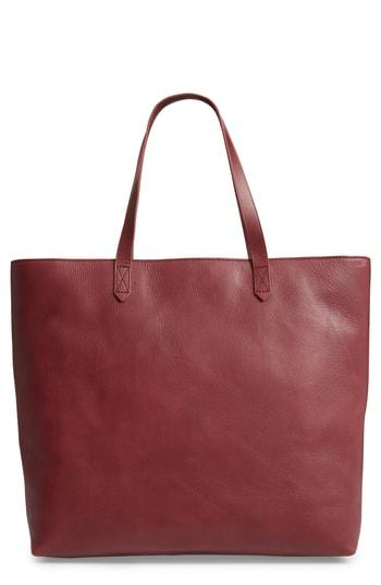 Madewell Zip Top Transport Leather Tote - Burgundy