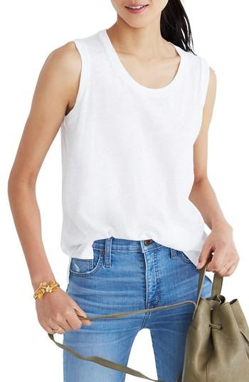 Women's Madewell Whisper Cotton Crewneck Muscle Tank, Size - White