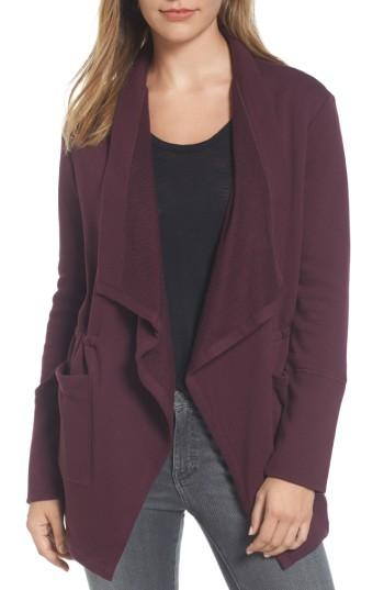 Petite Women's Caslon Asymmetrical Drape Collar Terry Jacket P - Burgundy