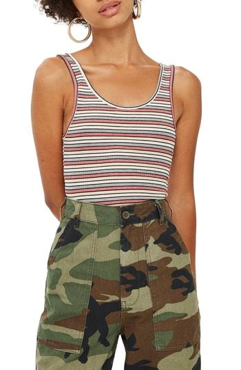 Women's Topshop Leni Striped Rib Tank Top Us (fits Like 6-8) - Pink