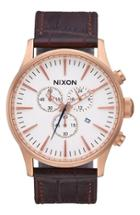 Men's Nixon The Sentry Chronograph Leather Strap Watch, 42mm