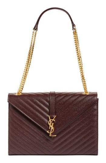 Saint Laurent 'large Monogram' Grained Leather Shoulder Bag - Red