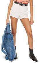 Women's Topshop Cutoff Denim Mom Shorts Us (fits Like 0) - White