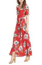 Women's Band Of Gypsies Blue Moon Floral Print Wrap Dress - Red