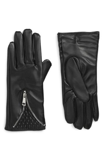 Women's Accessory Collective Quilted Zipper Gloves