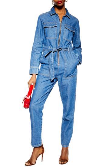Women's Topshop Denim Utility Boilersuit Us (fits Like 0) - Blue