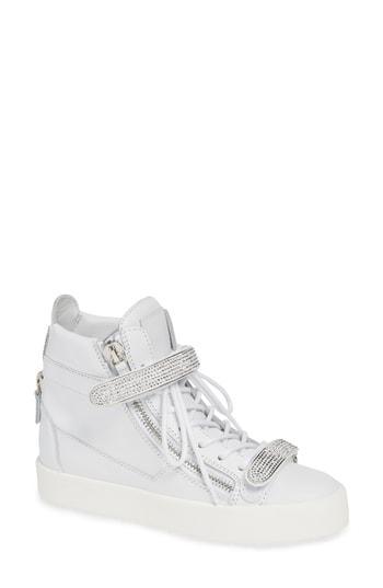 Women's Giuseppe Zanotti May London Jewel Wedge Sneaker M - White