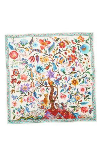 Women's Salvatore Ferragamo Tree Of Life Silk Foulard Scarf, Size - Ivory